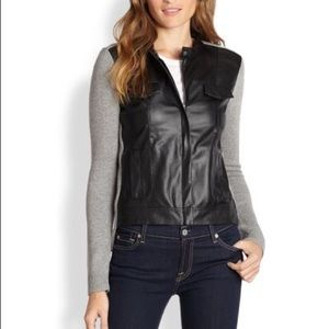 Ella Moss Faux Leather High Low Sweater Jacket